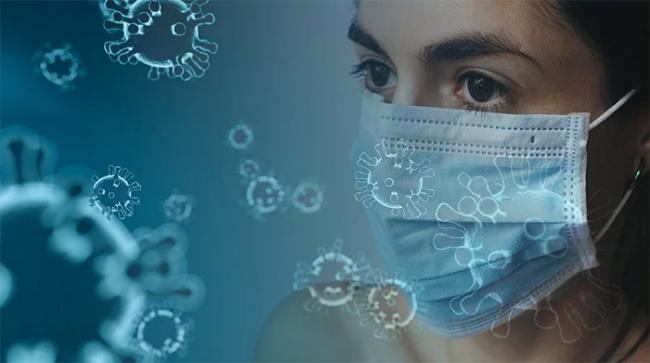 covid mascherina donna azzurra virus
